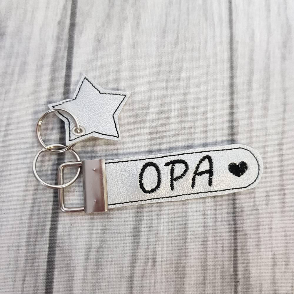 Schlüsselanhänger silber Anhänger Opa Herz  Schlüsselanhänger Vatertag aus Kunstleder Stern Bild 1