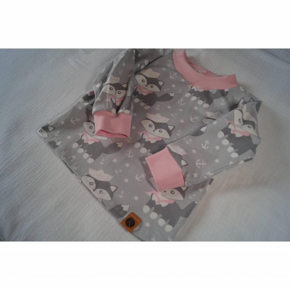 Langarmshirt Gr. 74/80 Fuchs Hafenfuchs Anker Rosa Grau Shirt Langarm Jerseyshirt Mädchen Bild 1