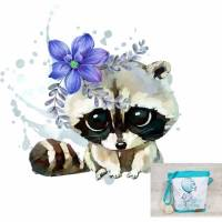 Kindertasche, Kindergartentasche 31 Waschbär Blume Bild 1