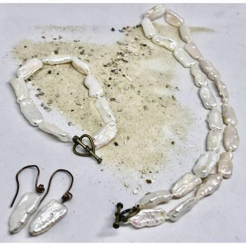 Perlenkette Perlen-Armband und Ohrringe