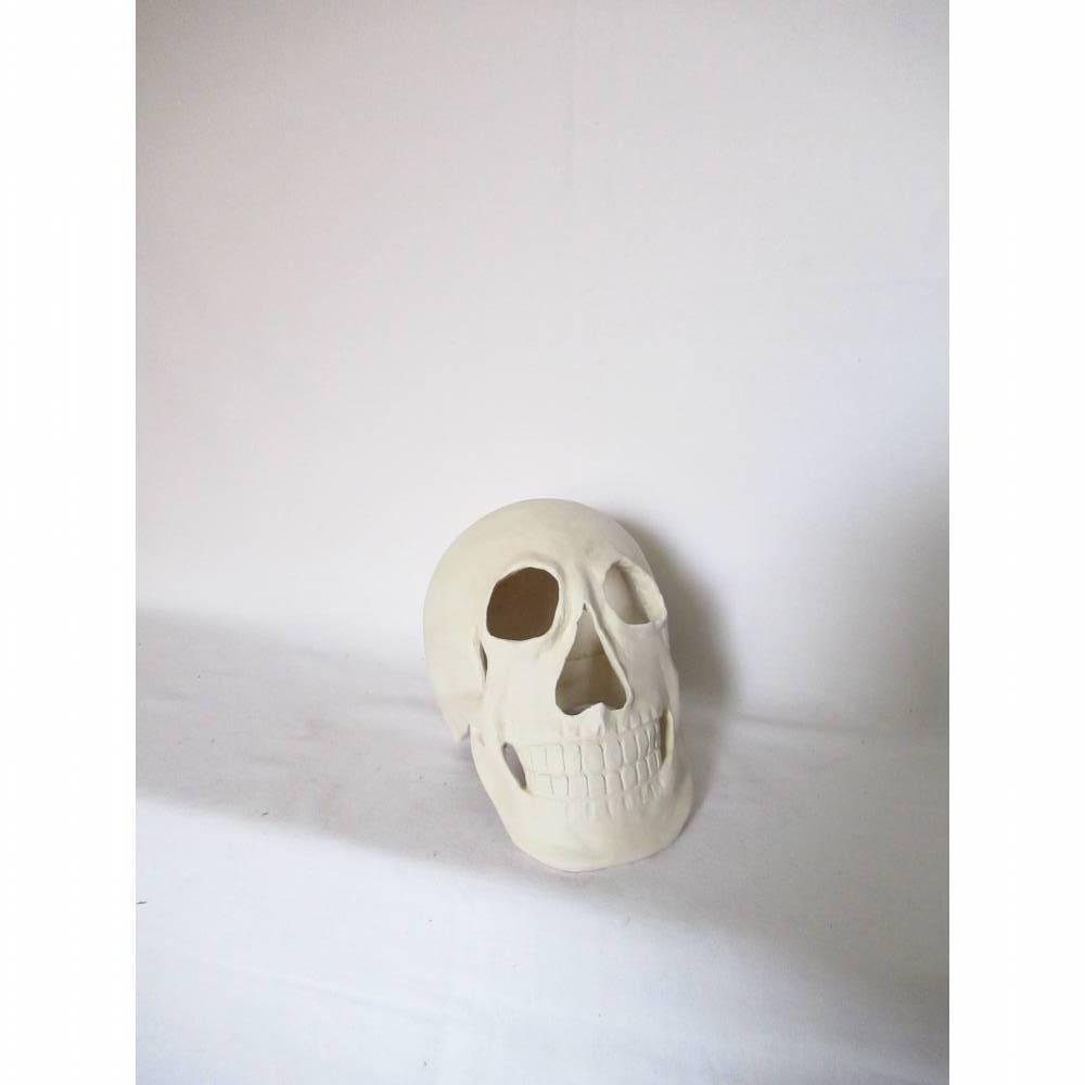 Totenkopf Räuchermann Skulptur Keramik Bild 1