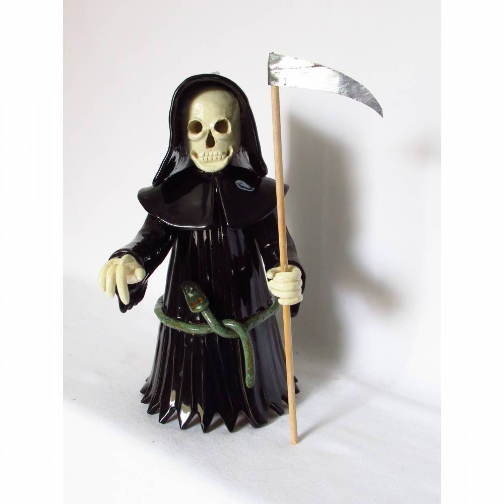 Sensenmann Räuchermann Märchenfigur Halloween Figurine Skulptur Bild 1