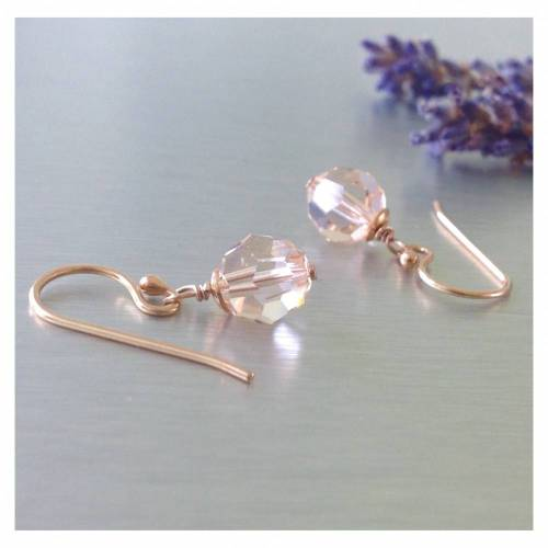 zarte Ohrringe Ton in Ton • Ohrhaken 925 Silber rosévergoldet