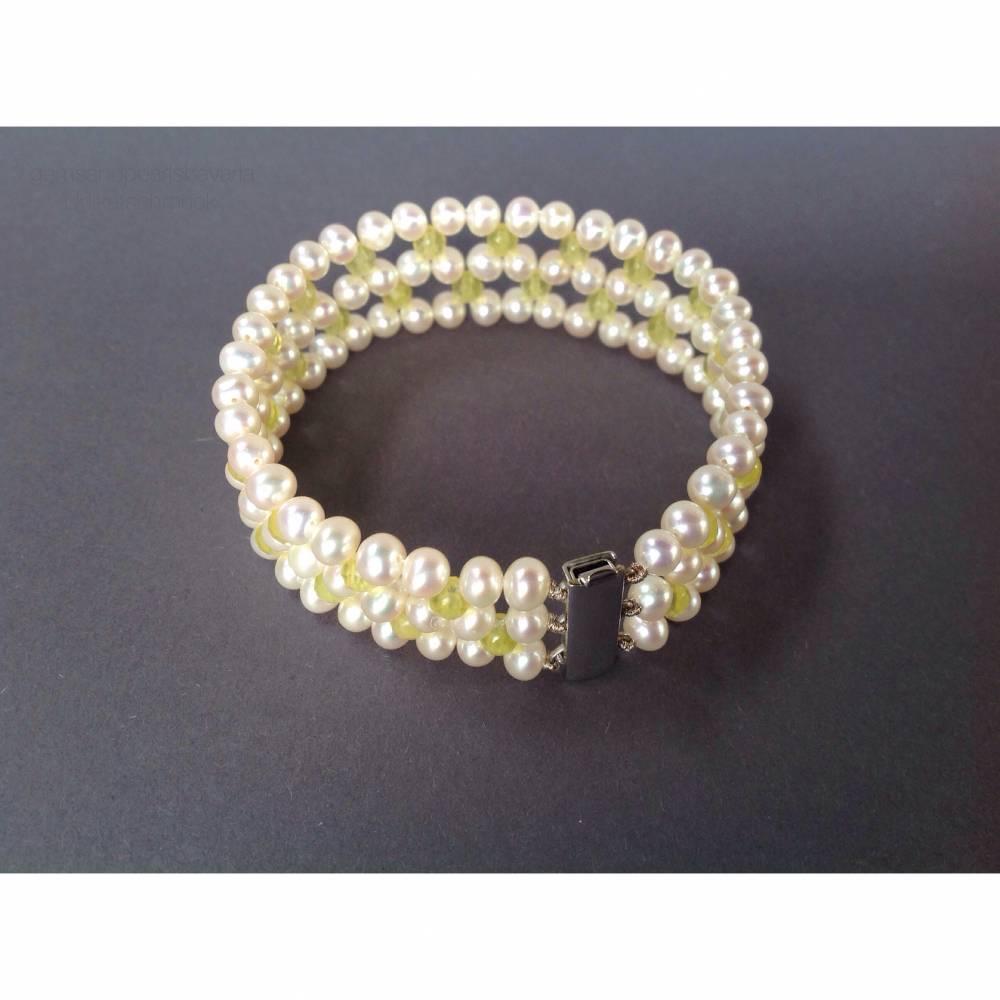 Perlenarmband mit Bowenit und Silber, Geschenk für Frauen, fünfreihig, Handarbeit aus Bayern, Brautschmuck, Hochzeitsgeschenk  Bild 1