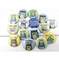 3er Set, Gesichts-Masken Humor, Ansteck-Buttons mit Katzen, zum selbst zusammenstellen, Behelfsmaske Deko, Mundschutz Bild 1