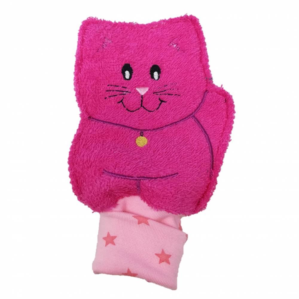 """Waschlappen """"Katze"""" pink auch personalisierbar  Bild 1"""