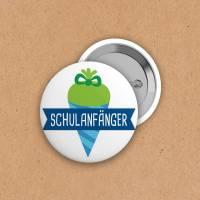 Button - Schulanfänger - Zuckertüte - grün-blau - 50mm Bild 1