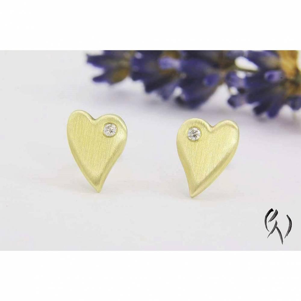 Ohrstecker Gold 585/- mit Brillant, kleines Herz, strichmatt Bild 1