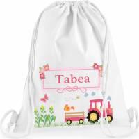 Turnbeutel, Sportbeutel mit Namen, Mädchen, Motiv Traktor pink Bild 1