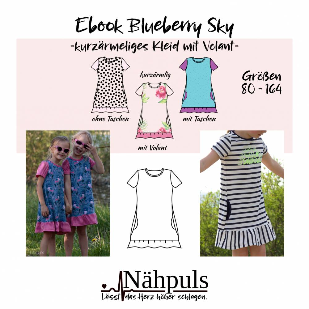 Ebook Kleid Blueberry Sky Gr. 80 - 164 Bild 1