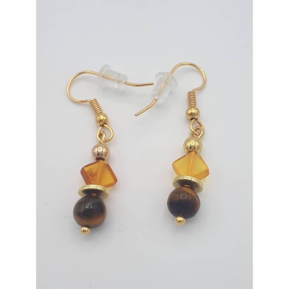 Perlen-Ohrringe Ohrhänger Naturstein handgemachtes Unikat gold bernstein braun 3,5 cm Bild 1