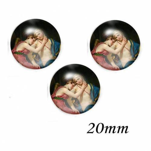 3 Glas Cabochons Painting Design 20 mm
