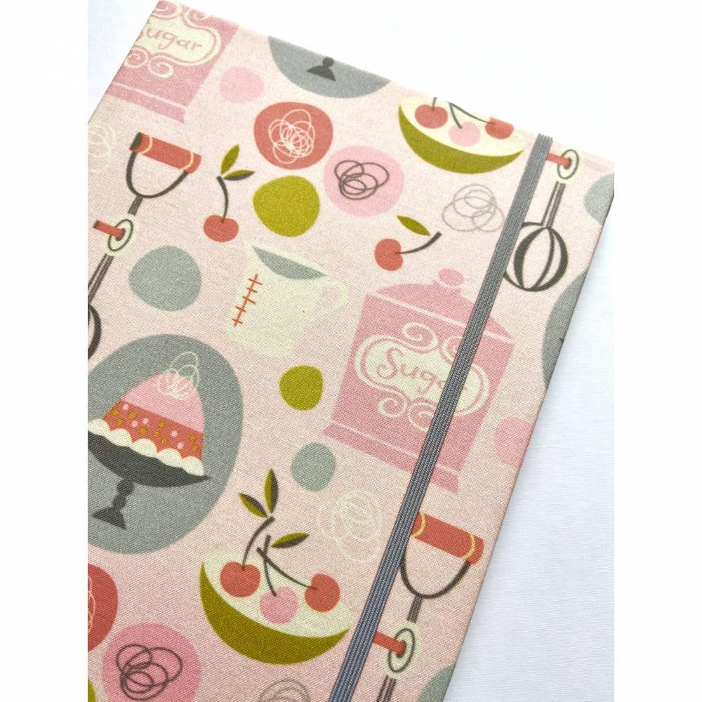 """Notizbuch Rezeptbuch """"Bakinglove"""" ähnlich A5 17,5 x 23 cm Hardcover stoffbezogen Retro Küche Backen Rezepte Geschenk Weihnachten Geburtstag Bild 1"""