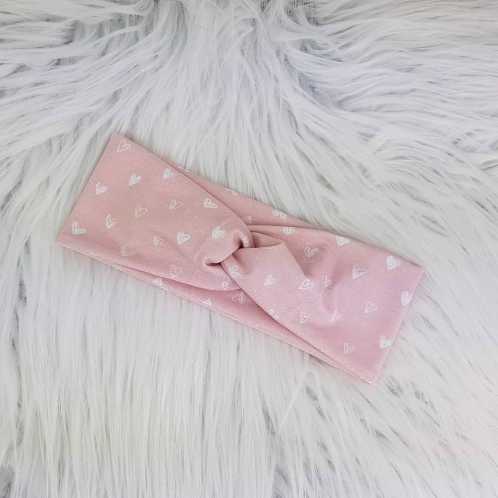 Stirnband - Herzen rosa Bild 1