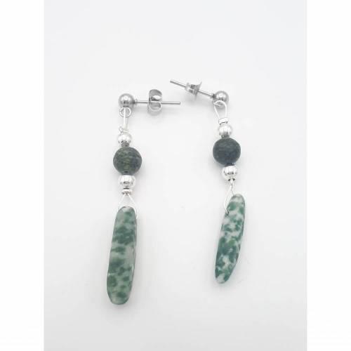 Perlen-Ohrringe Ohrhänger mit Naturstein Stiften in grün silber 4 cm