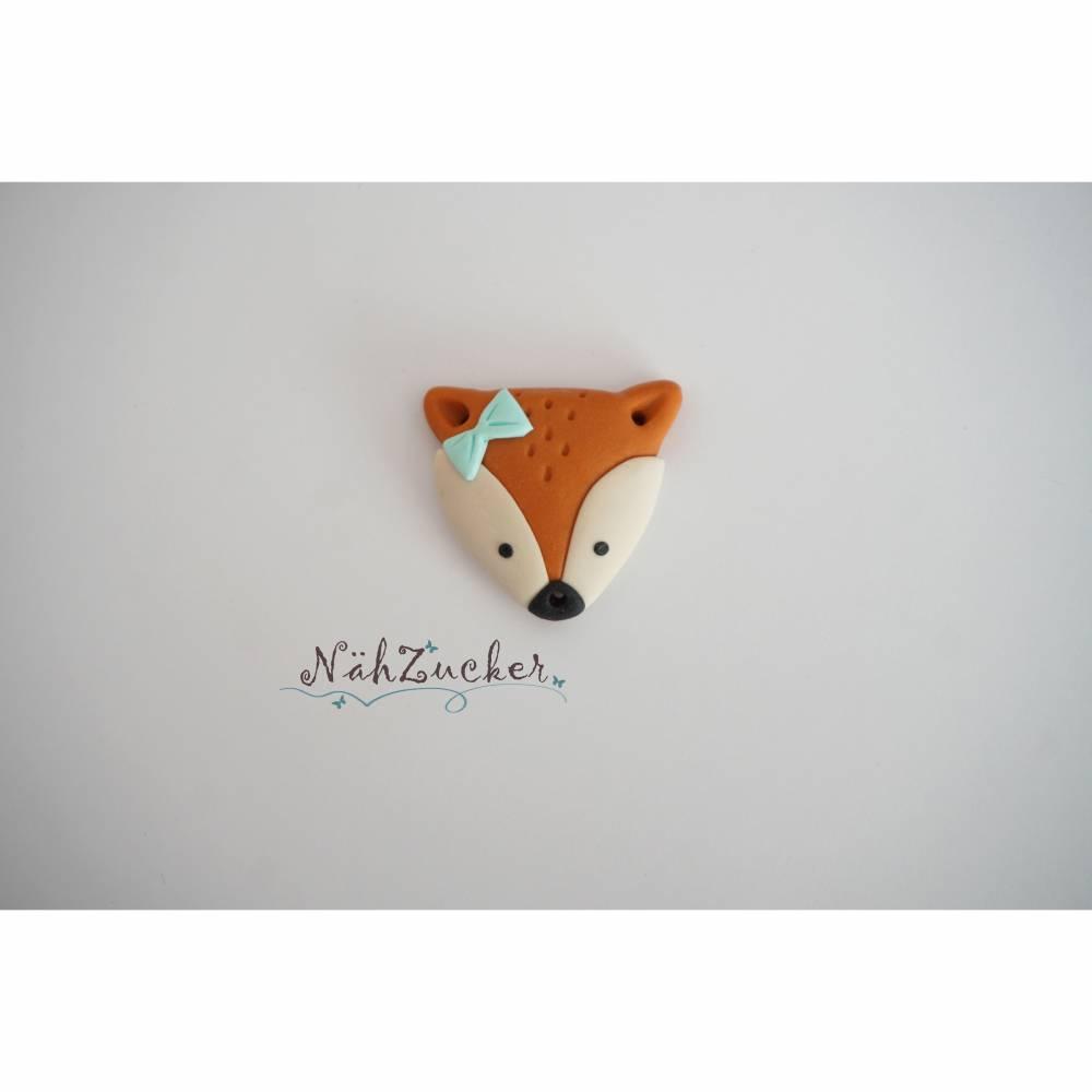 1 handgefertigter Knopf aus Polymer Clay, Motiv 'Fuchs', verschiedene Varianten Bild 1