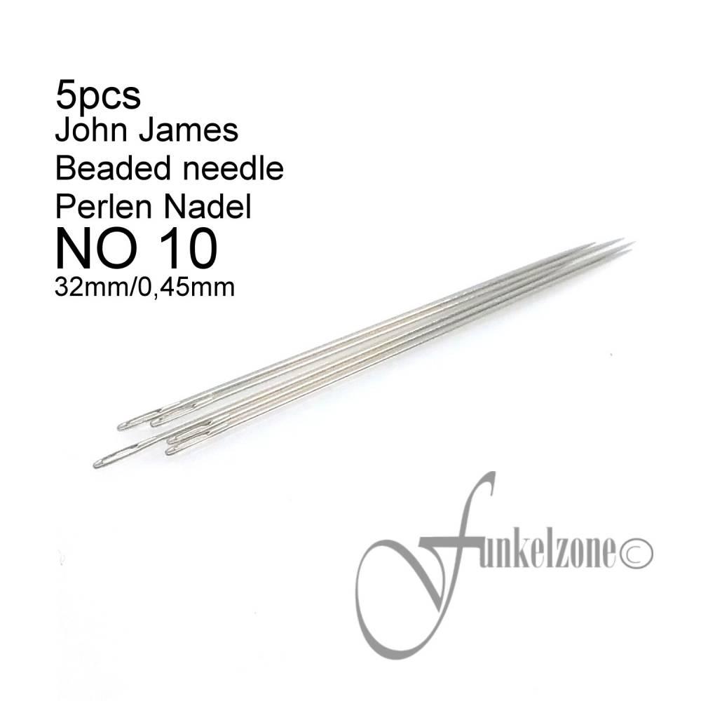 John James   #10 KURZ   32mm / 0,45mm   5 pcs   Beading Aufreihnadel   Fädelnadel  Bild 1