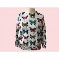 Pullover, Sweatshirt Damen, Gr.42, Bio Baumwolle Schmetterlinge weiß Bild 1