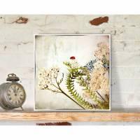 Flügeltiere MARIECHEN`S BLÜTE Bild auf Holz Leinwand Print Wanddeko Landhausstil Vintage Shabby Chic handmade Bild 1