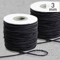 25 m Rolle (OP) Rundgummi Gummi Gummiband 3 mm, Farbe: schwarz Bild 1