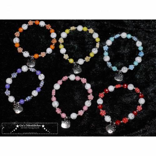 Kinder Armband mit Hello Kitty Katze Perlen