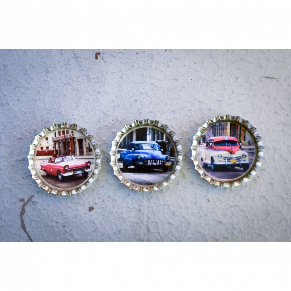 Kuba Havanna Oldtimer 3er Set Kronkorken Magnet Kühlschrankmagnet Bild 1