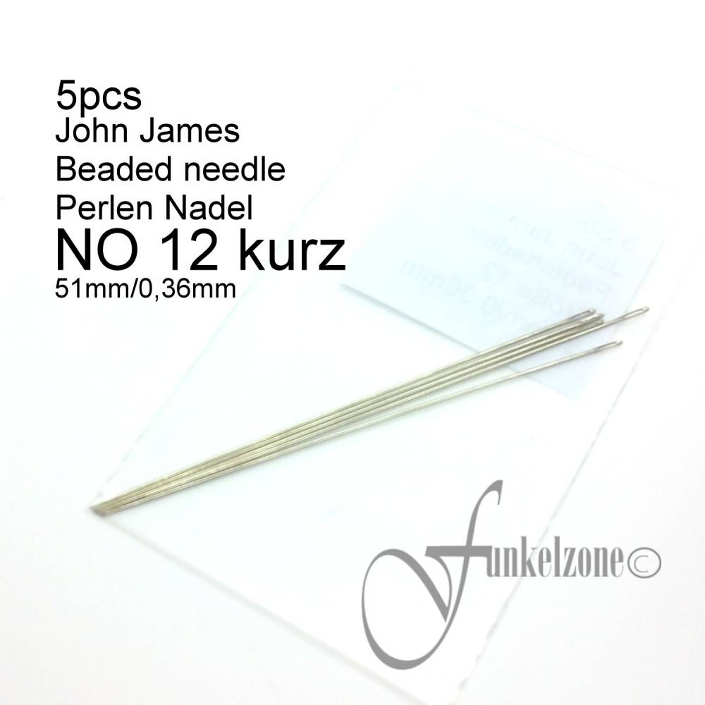 John James | #12 KURZ | 51mm / 0,36mm | 5 pcs | Beading Aufreihnadel | Fädelnadel  Bild 1