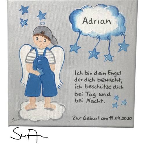 Schutzengelbild Schutzengel Bild für Jungen zur Taufe Geburt