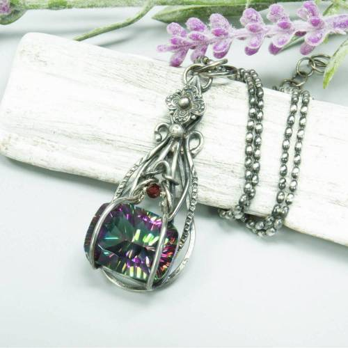 Mystic Quarz, Rhodolit Granat Anhänger, Sterling Silber Halskette