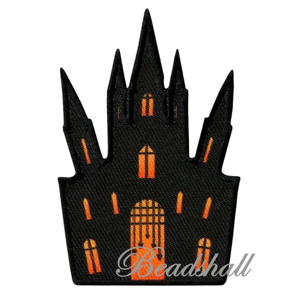 Bügelbild Schloss Applikation Geisterhaus Geisterschloss Halloween Bild 1