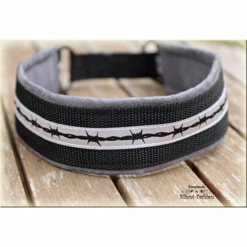 Halsband STACHELDRAHT, Zugstopp Halsband in grau schwarz für Hunde , Hundehalsband Martingale