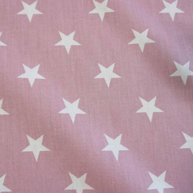 """Baumwoll-Stoffe """"weiße Sterne"""" auf altrosa weiß pastell für Stoffmasken Bild 1"""