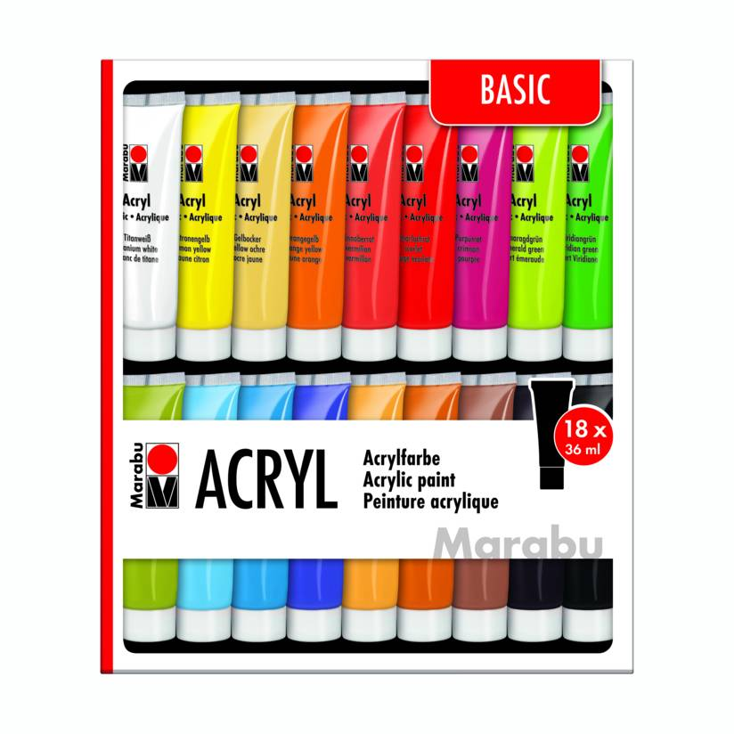 Marabu Acrylfarben 18 x 36 ml - BASIC SET Bild 1