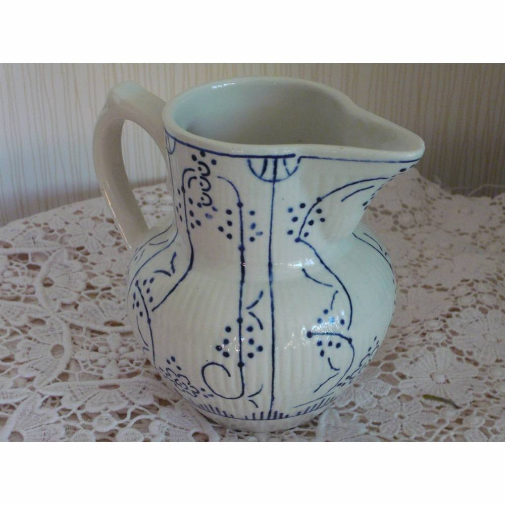 Milchkännchen vintage Ausgießer Kännchen Keramik blau Bild 1