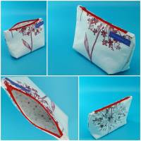 Krimskrams-Täschchen, Kosmetik-Täschchen, weiß mit Blumen rot