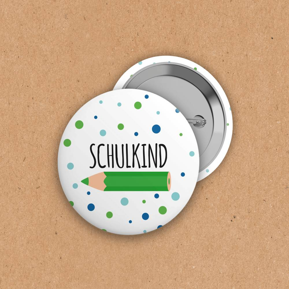 Button - Schulkind - Punkte+Buntstift - grün/blau - 38mm Bild 1