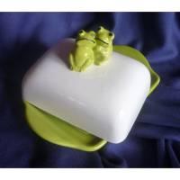 Butterdose  Schönen guten Morgen, Frosch, Grün und weß Bild 1