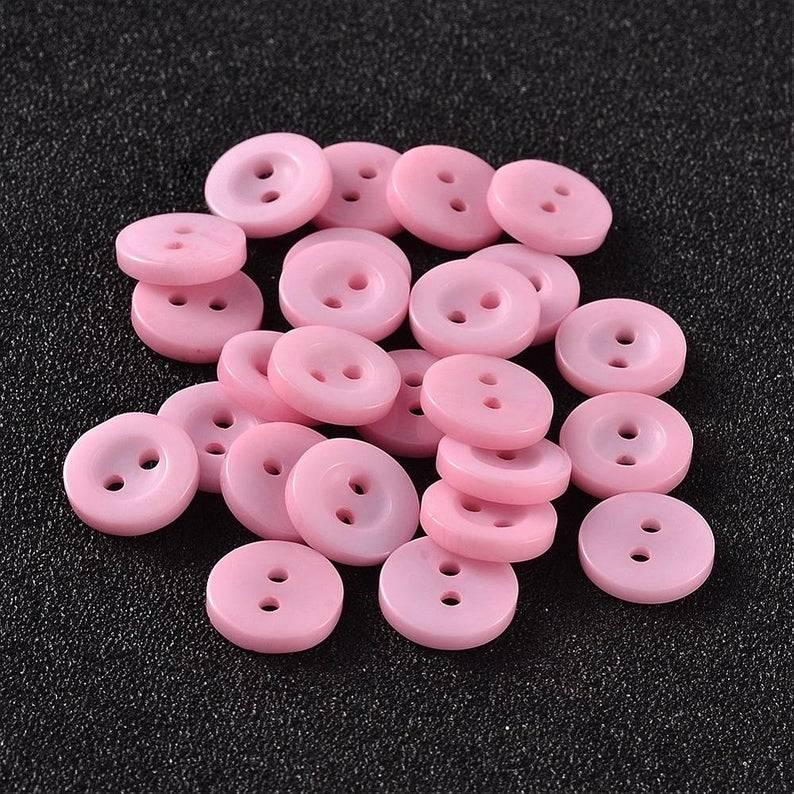 20 Knöpfe 10 mm rund rosa Harz Bild 1