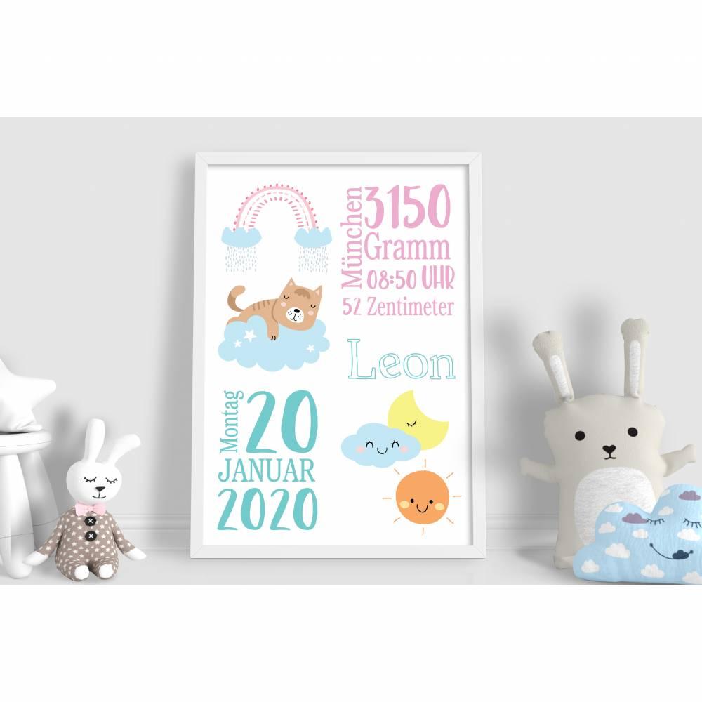 Personalisierte Geburtsanzeige Geburtsposter Poster Geschenk Geburtsdaten Geburtsbild Bild 1