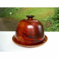 Vintage Keramik Käse-Glocke braun mit Unterteller rustikal Töpferware Handarbeit Bild 1