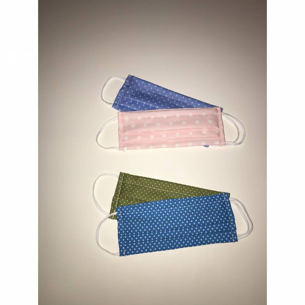 Mund Nase Maske Spuckschutz Altagsmaske Punkte Dots rosa blau Petrol Khaki Behelfsmaske Gesichtsbedeckung Spuckschutz Bild 1