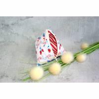 Schlüsseltasche, Baumwolle, weiß mit Blumenranken, Geldtasche, Kleingeldtäschchen, Tampontasche,Pyramidentasche, Schminktasche, Schmucktasche, Dreieiecktasche Bild 1