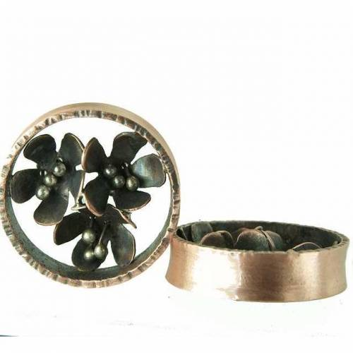 OhrTunnels aus Kupfer und Sterlingsilber - Blüten  3cm Durchmesser