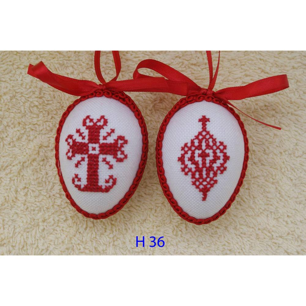 Osterdeko, Kreuzstich Osterei, ♥ religiöses Motiv ♥ Handgestickt, rot-weiß 6cm   Bild 1