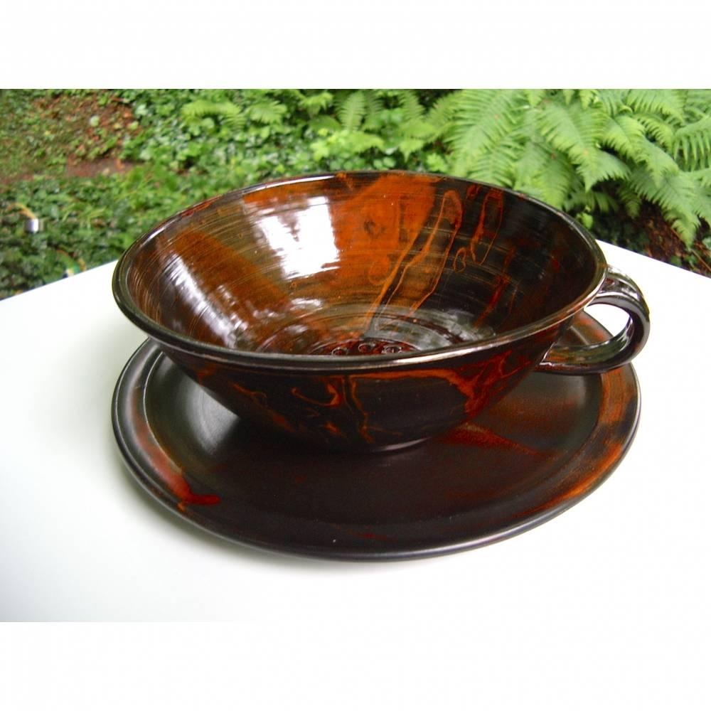 Vintage Keramik Sieb Küche Nudeln Obst braun mit Unterteller rustikal Töpferware Handarbeit Bild 1
