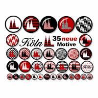 Cabochonbilder zum Ausdrucken, Kölner Dom, Rot Schwarz, 35 neue Motive, Karneval, Größe nach Wahl Bild 1