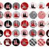 Cabochonbilder zum Ausdrucken, Kölner Dom, Rot Schwarz, 35 neue Motive, Karneval, Größe nach Wahl Bild 2