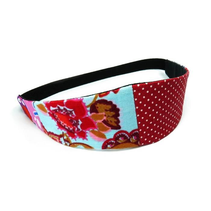 Haarband zum Wenden Patchwork rot blau Einzelstück Stirnband Abschminkband Wendehaarband Blumen Punkte Eule Bild 1