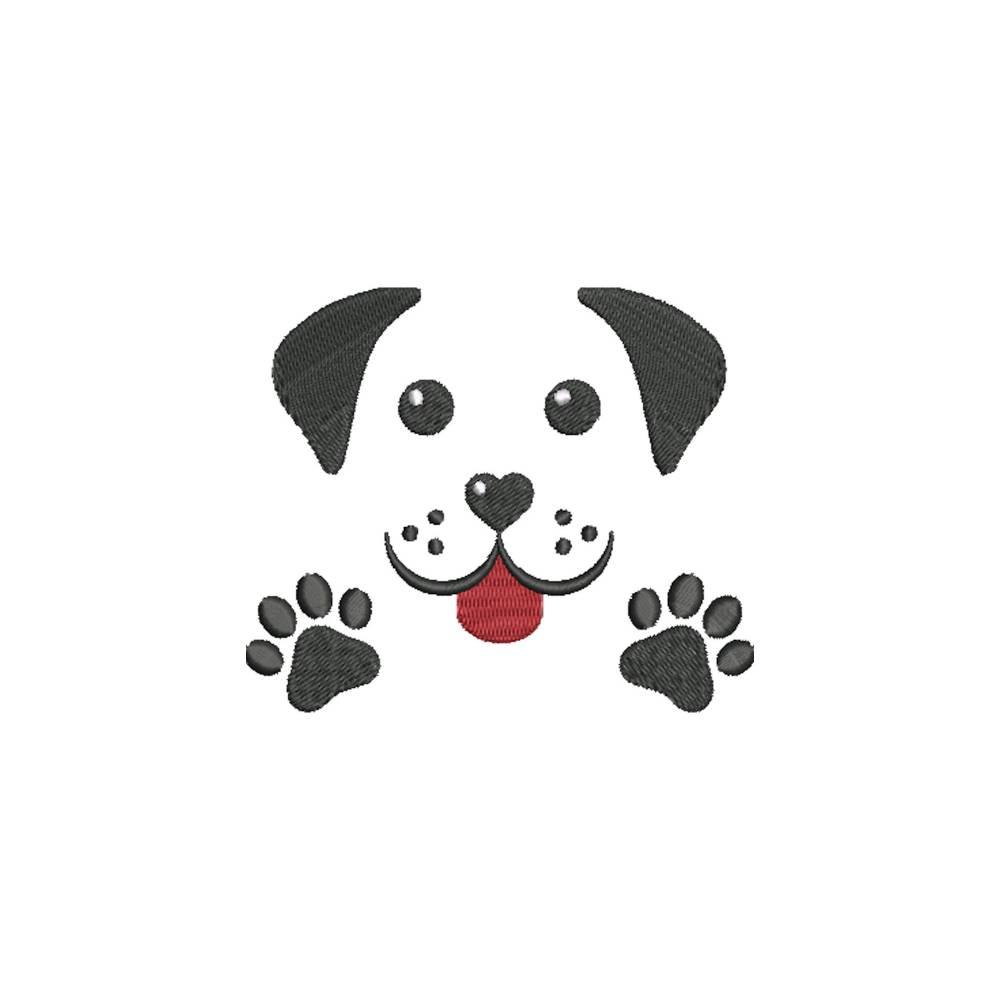Stickdatei Hundegesicht mit Pfoten 10 x 10 cm Maschinenstickerei Text Spruch Tiere Pfote Cartoon Clipart Hund Gesicht Krallen Bild 1