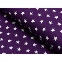 0,50m Baumwolle kleine weiße Sterne auf violett